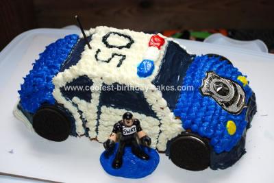 Homemade Police SWAT Car Birthday Cake