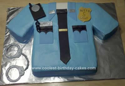 Homemade Police Uniform Birthday Cake