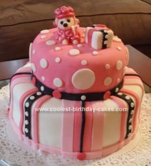 Homemade Poodle Polka Dot Birthday Cake