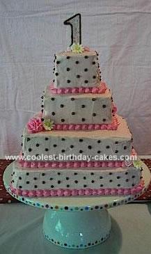 Pink and Brown Polka Dot Cake