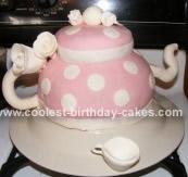 Homemade Polka Dot Teapot Birthday Cake