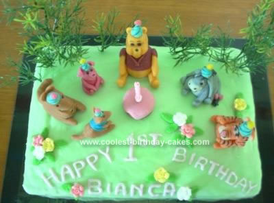Homemade Pooh and Friends Birthday Picnic Cake