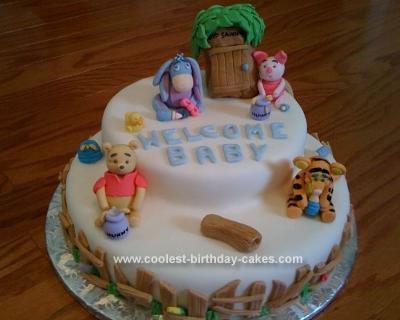 Homemade Pooh Baby Shower Cake