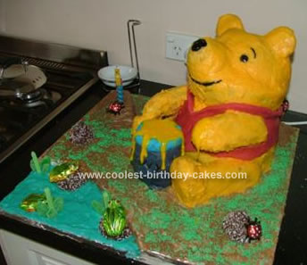Homemade Pooh Bear Birthday Cake