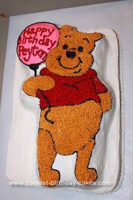 Homemade Pooh Bear First Birthday Cake