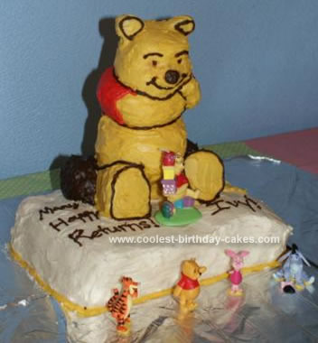 Homemade Pooh Birthday Cake