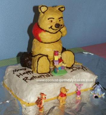 Homemade Pooh Birthday Cake