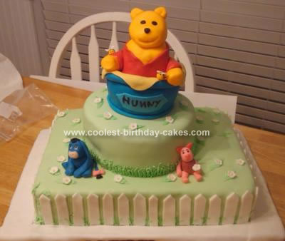 Homemade Pooh Hunny Pot Birthday Cake