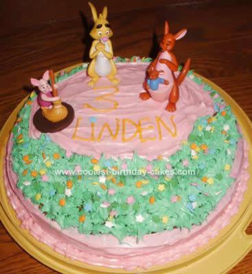 Homemade Pooh's Friend Birthday Cake