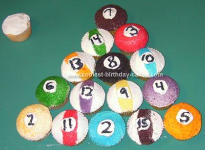 Homemade Pool Ball Cup Cakes