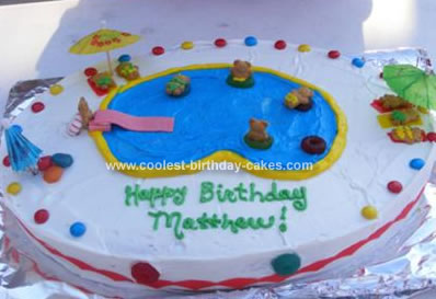 Groovy Cool Homemade Oval Shaped Pool Party Birthday Cake Funny Birthday Cards Online Barepcheapnameinfo