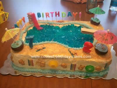 Homemade Pool Party Birthday Cake