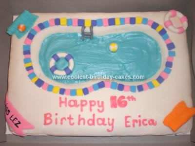 I Made This Pool Party Cake For A 16th Birthday The Is Half Sheet Carved Out Middle Covered It With Buttercream Then