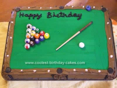 Homemade Pool Table Birthday Cake