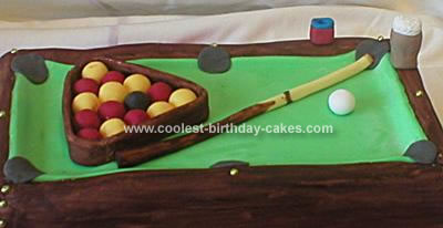 Homemade Pool Table Birthday Cake