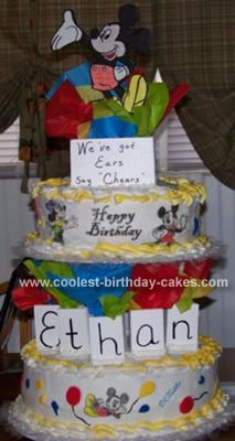 Homemade Pop up Mickey Mouse Birthday Cake