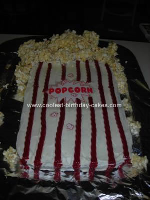Homemade Popcorn Bag Birthday Cake