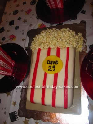 Birthday Cake Idea For My Friend Daves 29th It Was A Movie Character Themed Party The Popcorn Made With Kettle Corn And White Chocolate
