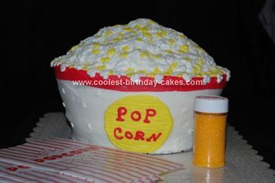 Homemade Popcorn Bucket Birthday Cake