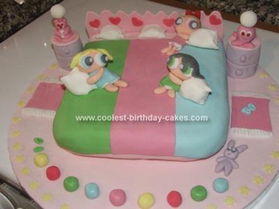 Homemade Power Puff Girls Birthday Cake