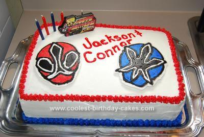 Pleasing Cool Homemade Power Rangers Birthday Cake Personalised Birthday Cards Veneteletsinfo