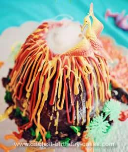 Homemade Prehistoric Volcano Cake