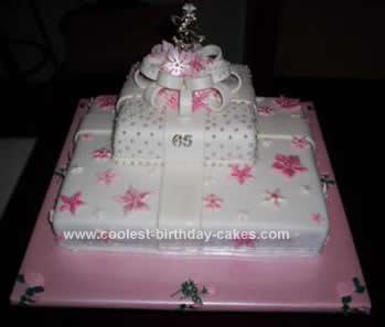 Homemade Prettiest Pink Gift Box Birthday Cake