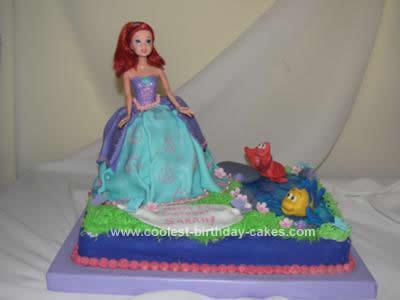 Homemade  Princess Ariel Birthday Cake Design