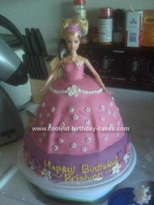 Homemade Princess Barbie Doll Cake