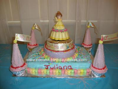 Homemade Princess Belle Birthday Cake