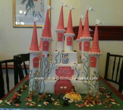 Homemade Princess Castle and Teddy Bear Birthday Cake