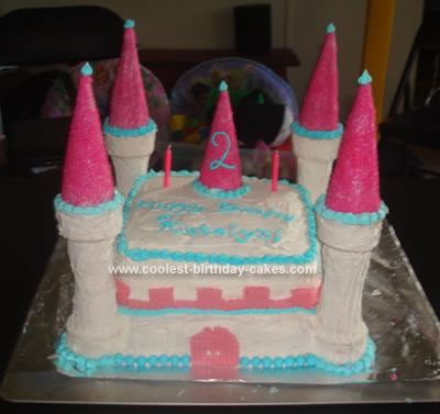 I Made This Princess Castle Birthday Cake For A 2 Year Old Party Baked Two Boxed Cakes The Funfetti Kindin Different Sized Square Pans