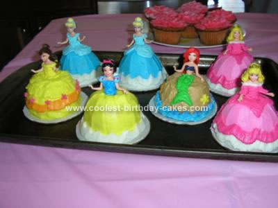 These Are Disney Princess Cupcakes I Made For My Nieces Birthday Used Regular Turned Upside Down Put A Little Frosting On The Cardboard
