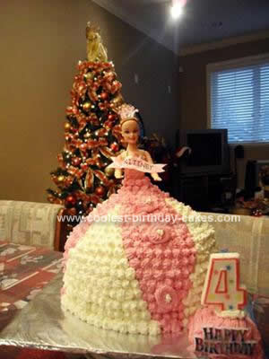 Homemade Princess Doll Cake for a 4th Birthday