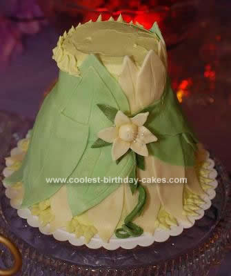 Homemade Princess Tiana Dress Cake