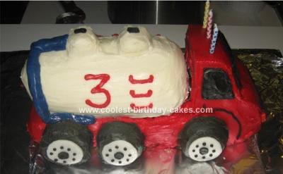 Homemade Pumper Truck Cake