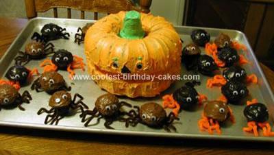 Homemade Pumpkin and Spiders Cake