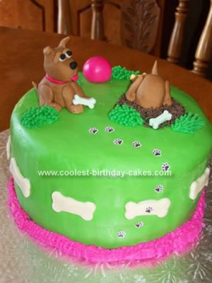 This Is A Puppy Dog Birthday Cake I Made For My Nieces She Had Asked Me To Make Her With And Bone On It