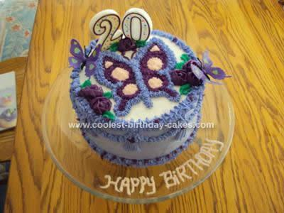 Homemade  Purple Butterfly Cake