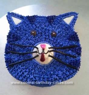 Homemade Purple Cat Face Cake