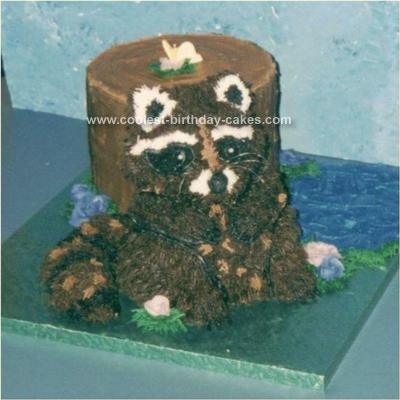 Homemade Raccoon Birthday Cake