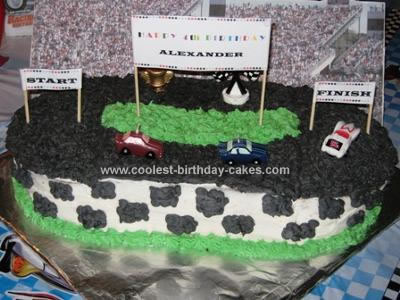 Homemade Race Car Track Birthday Cake