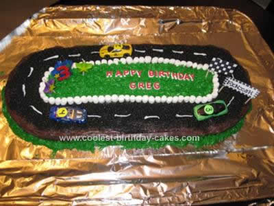 Homemade Race Car Track Cake