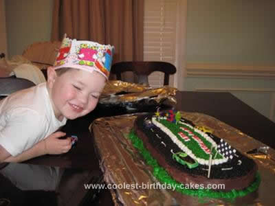Homemade Race Car Track Cake