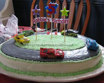 Homemade Race Track Birthday Cake