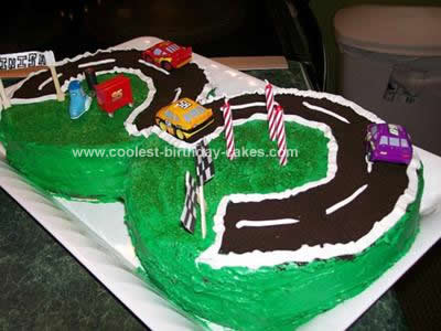 Cool Homemade Number 3 Racetrack Birthday Cake