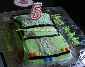 Homemade Green Racing Car Cake 34