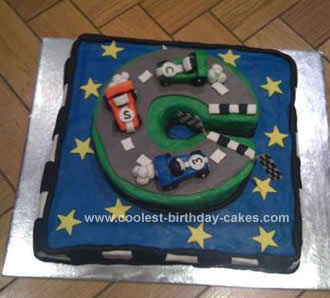 Homemade Racing Car Track Birthday Cake