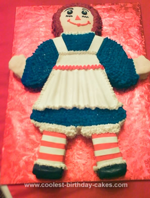 Homemade Raggedy Ann Birthday Cake