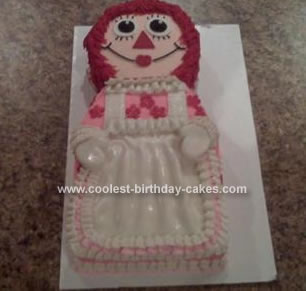 Homemade Raggedy Ann Ice Cream Cake
